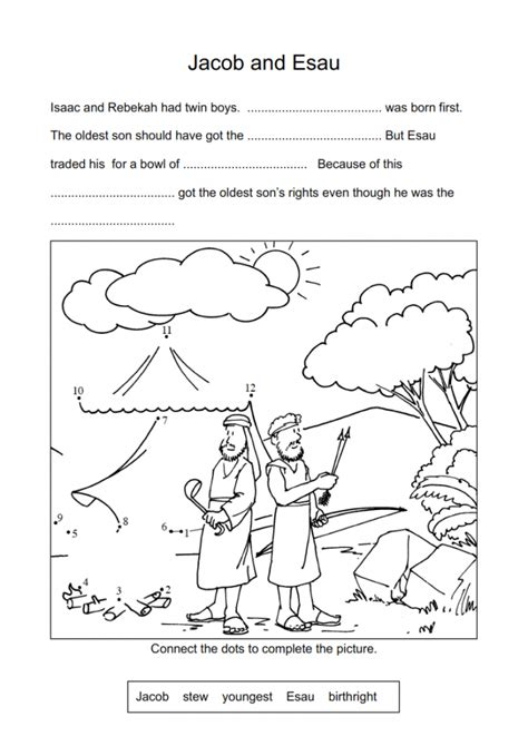 9 jacob amp esau worksheets and coloring pages history 601 | 0d9c0b04c2c864b4b1995cba9ed3420f