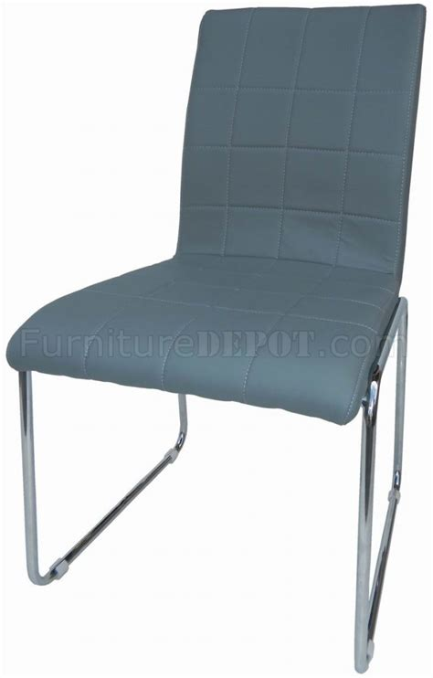 set of 4 grey leatherette modern dining chairs w metal legs