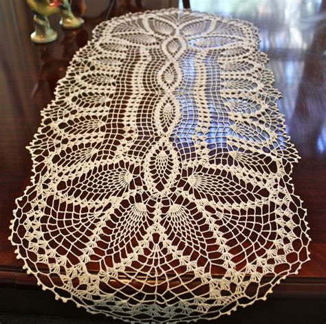 free crochet pineapple table runner patterns vintage oblong white cotton crocheted table runner doily