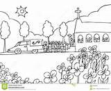 Funeral Funerale Nero Bianco Begrafenis Evento Gebeurtenis Dienst Witte Zwart Cartoon Schwarzweiss Ereignis Chiesa Gente Della Fumetto Fotografie Event Depositphotos sketch template