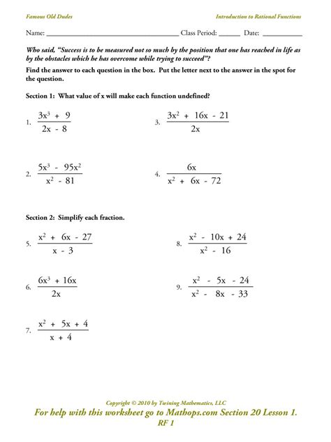 graphing rational functions worksheet worksheets