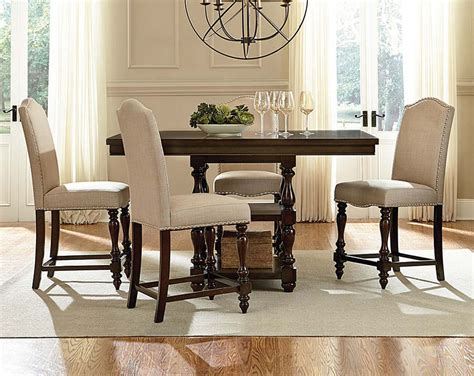 counter height dining room table sets brown wood cream fabric mcgregor 5 piece counter height