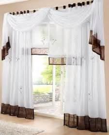 gardinen wohnzimmer modern 1 st gardine vorhang 140 x 145 weiß braun schlaufen schal transparent neu design bookmark 17337