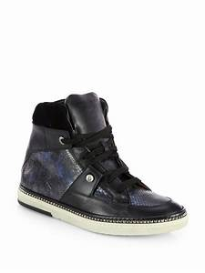 Jimmy Choo Snakeembossed Leather Hightop Sneakers in Black ...