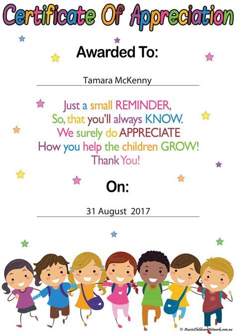 educators certificate  appreciation aussie childcare