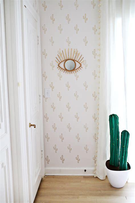 gold cactus wallpaper diy  beautiful mess bloglovin