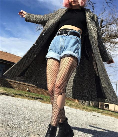 22 Grunge Outfits ideas with Fishnet Tights   Fishnet tights Fishnet and Shorts