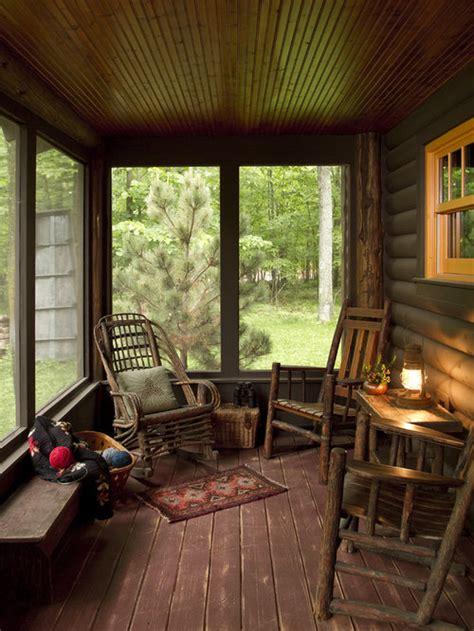 log cabin porch home design ideas pictures remodel  decor