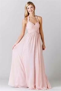Magnifique robe rose pale longue col halter pour for Robe rose pale longue