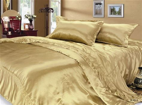 Luxury Golden Silk Satin Queen Size Bed Sheet Set New