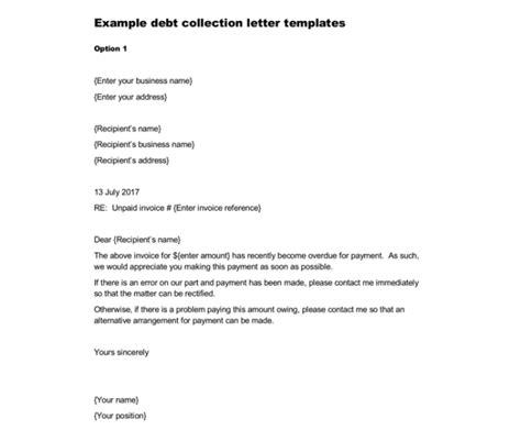 debt letter template  samples  word