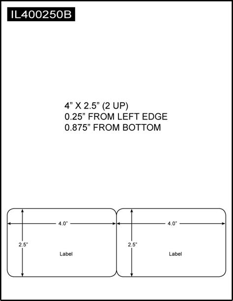 Integrated Label, 4 x 2.5 (2 Up), 8.5 x 11 Sheet Size