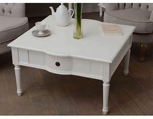 Table Basse Scandinave Blanche : table basse blanche carr e shabby chic amadeus ~ Teatrodelosmanantiales.com Idées de Décoration