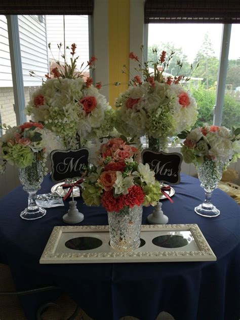Pin by Beth Lackey on Navy and coral wedding ideas Table