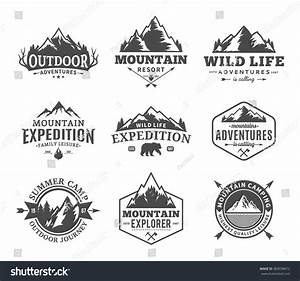 Set Of Vector Mountain And Outdoor Adventures Logo ...