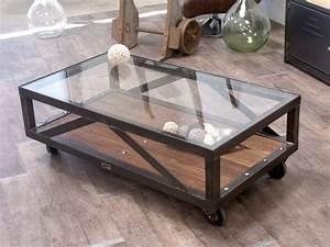 Table Basse Ronde Industrielle : table basse verre bois et m tal sur mesure micheli design ~ Teatrodelosmanantiales.com Idées de Décoration