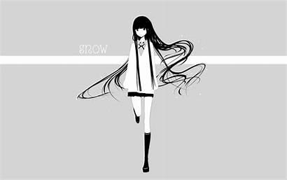 Anime Skirts Grayscale Gray Socks Simple Knee