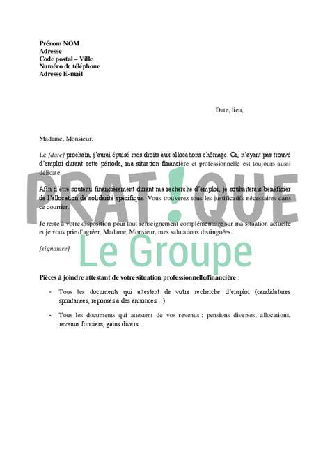 modele lettre droit d option pole emploi lettre de demande d allocation sp 233 cifique de solidarit 233