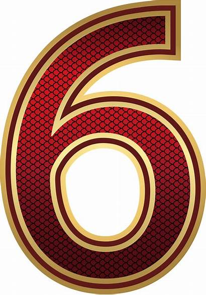Number Six Gold Decorative Clipart Yopriceville Numbers