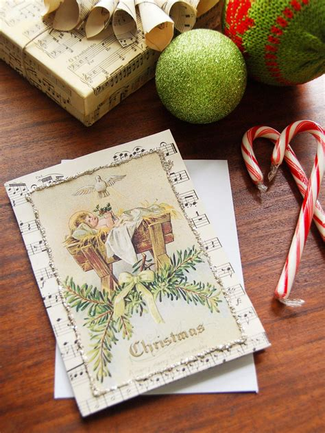 vintage sheet  handmade christmas card hgtv