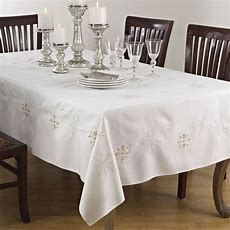 Holiday Embroidered Snowflake Ivory Square Tablecloth, One