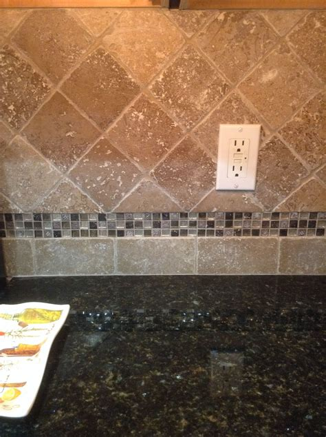 Glass Mosaic Tile Kitchen Backsplash by New Travertine Tile Backsplash With Glass Mosaic Accent