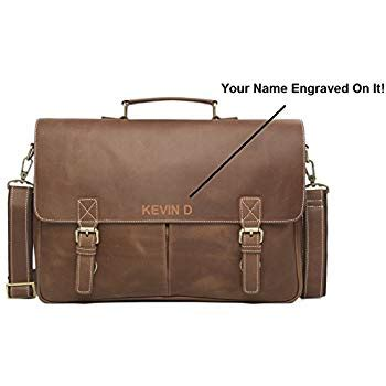 amazoncom personalized engraved mens leather messenger