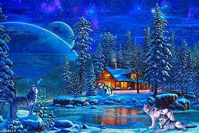 Winter Weihnachten Hiver Paysage Cabin Gifs Animation