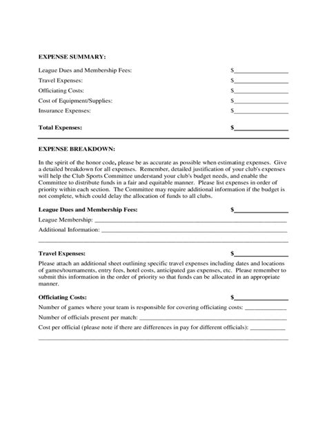 club sports budget proposal form