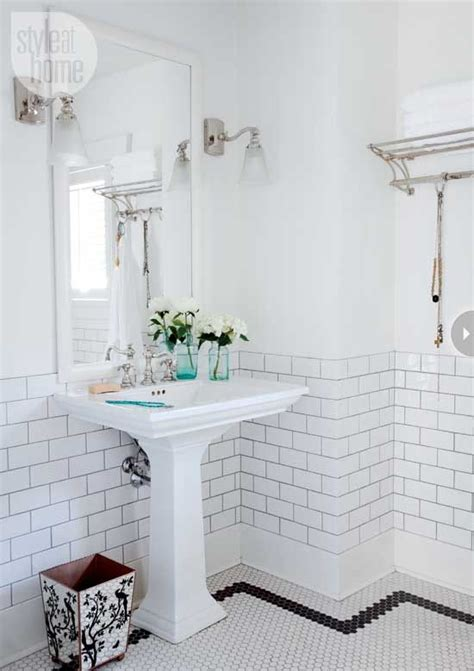 bathroom bathrooms decor pedestal and white subway tiles