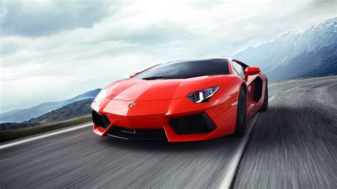 Lamborghini Aventador Red Supercar In The Highway 4k