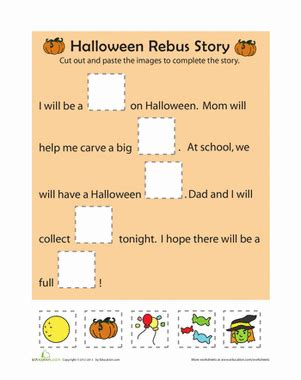 rebus story worksheet education 881 | halloween rebus story comprehension kindergarten