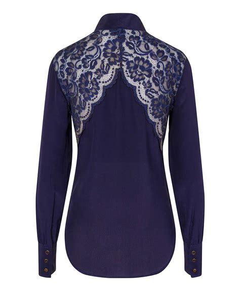 silk bow blouse navy blue sophie cameron davies