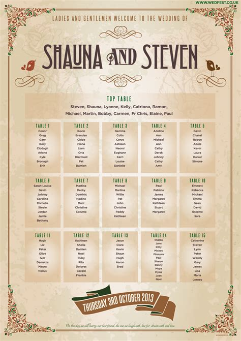 shabby chic wedding seating plan ideas marty mccolgan graphic and web design northern ireland