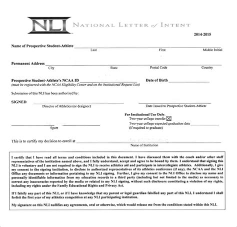 ncaa letter of intent national letter of intent 9 free word pdf format 12774