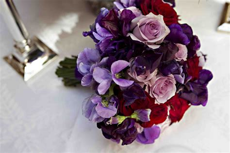 Red And Lilac Wedding Bouquet