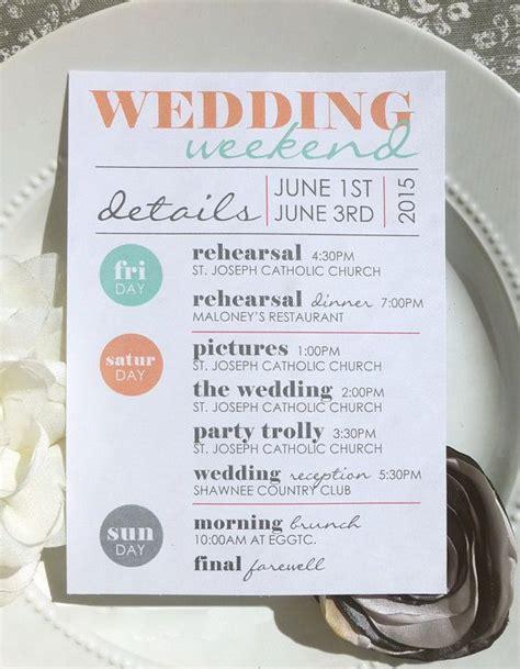 wedding itinerary wedding itinerary wedding schedule