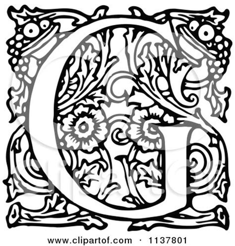 letter g black and white clipart of a retro vintage black and white ornate letter g