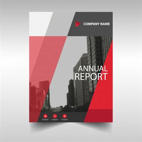 red creative annual report cover template vector