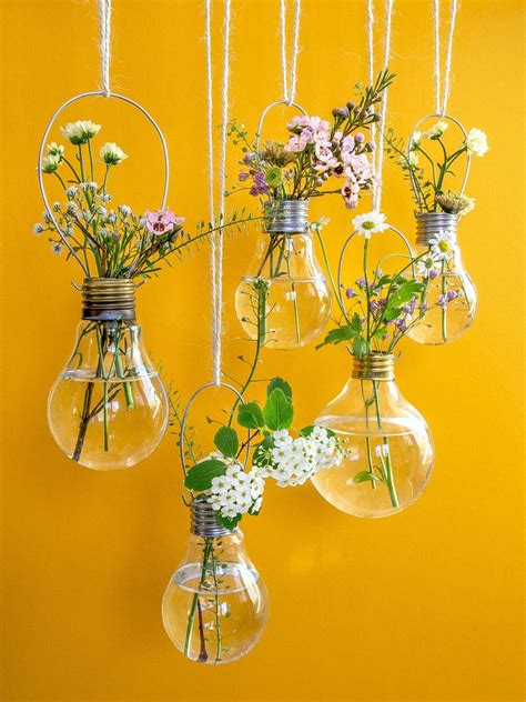 flowers in light bulbs spring flowers upcycle that