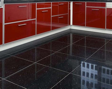 Quartz Stone Midnight Black  Quartz Floor Tiles From Tile