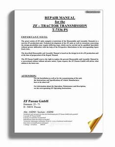 Zf Transmission T 7336 Ps Workshop Manual