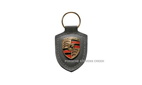 porsche key chain agate gray leather metal colored crest