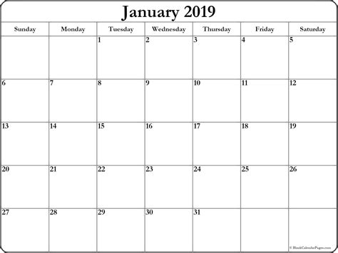 January 2019 Blank Calendar Collection