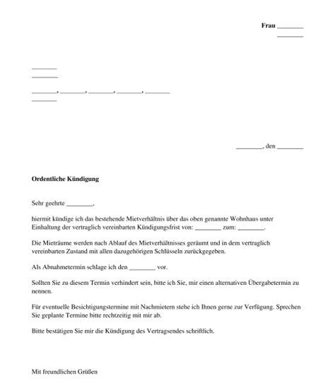 kündigung mietvertrag vorlage kostenlos k 252 ndigung mietrecht muster vorlage word und pdf