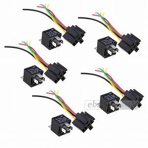 5x 12v Spst Relay   Wire Socket Car Automotive Alarm 40a