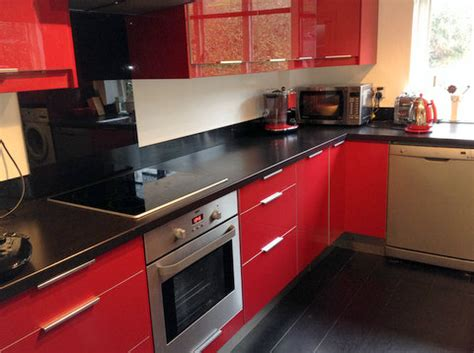 approx yr  red gloss ikea kitchen worktops  appliances