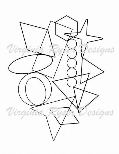 Coloring Random Shapes Geometric Paper Letters Symbols