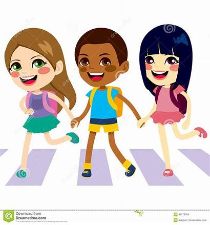 Crossing Clipart Street Children Walking Walk Pedestrian