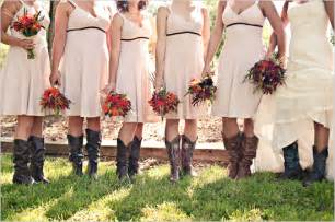 country bridesmaids dresses country wedding bridesmaids in cowboy boots the knot
